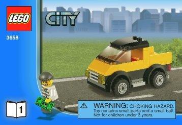 Lego Police Helicopter - 3658 (2011) - POLICE W. 2 ROAD PLATES BI 3010/24 - 3658 V. 39 1/2