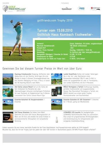 Turnier vom 15.08.2010 Golfclub Haus Kambach ... - Golffriends.com