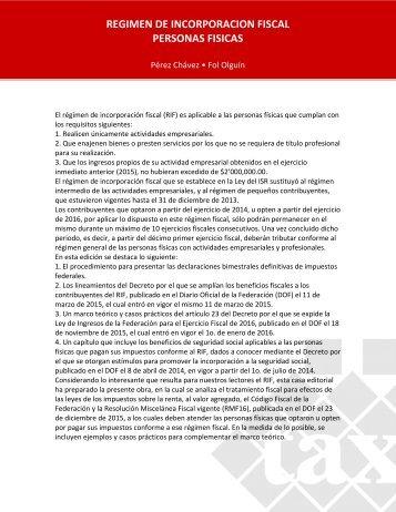 REGIMEN DE INCORPORACION FISCAL PERSONAS FISICAS