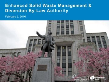 Enhanced Solid Waste Management & Diversion By-Law Authority