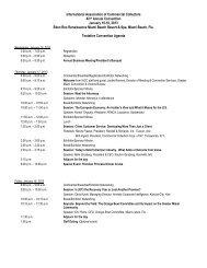 Tentative Agenda - International Association of Commercial Collectors