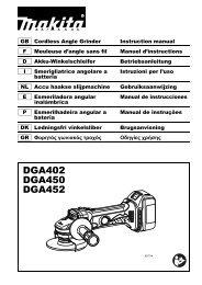 Makita Meuleuse Ø 115 mm 18 V Li-Ion (Machine seule) - DGA452Z - Notice