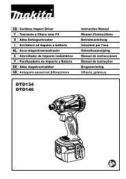 Makita Visseuse à chocs 18 V Li-Ion 160 Nm (Machine seule + kit d'accessoires) - DTD146ZX1 - Notice