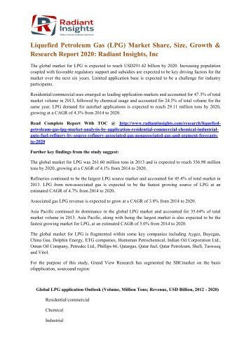 Liquefied Petroleum Gas (LPG) Market Share, Size, Growth & Research Report 2020 Radiant Insights, Inc