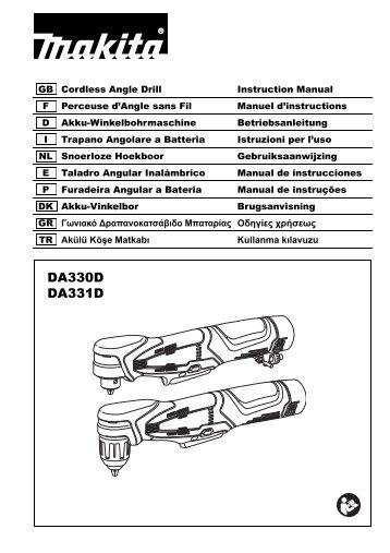 Makita Perceuse visseuse d'angle 10,8 V Li-ion 1,3 Ah Ø 10 mm à clé - DA330DWJ - Notice