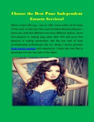 Choose the Best Pune Call Girls Services