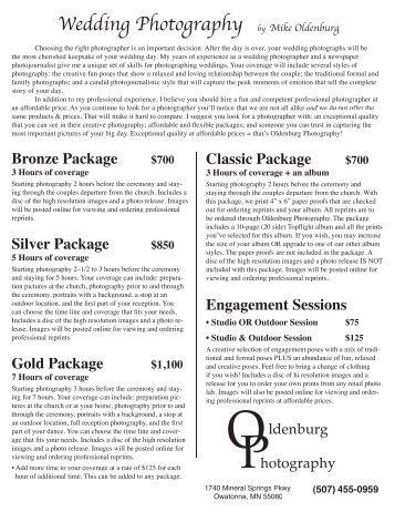Pricing (pdf) - Oldenburg Photography