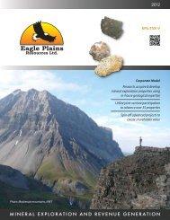 mineral exploration and revenue generation - Eagle Plains Resources