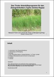 Das Tiroler Artenhilfsprogramm für den Zwergrohrkolben (Typha ...