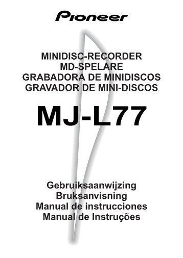 Pioneer MJ-L77 - User manual - espagnol, néerlandais, portugais, suédois