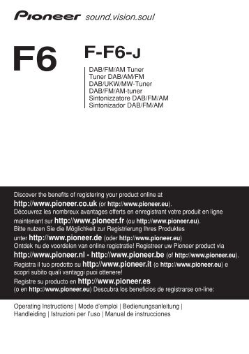 Pioneer F-F6-J - User manual - allemand, anglais, espagnol, français, italien, néerlandais