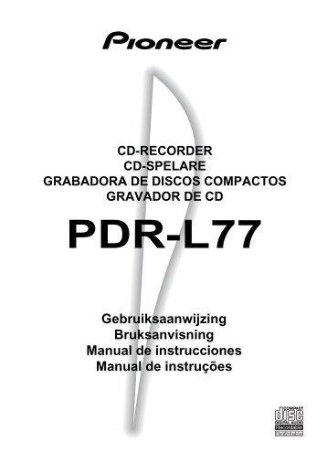 Pioneer PDR-L77 - User manual - néerlandais
