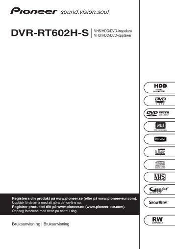 Pioneer DVR-RT602H-S - User manual - norvégien, suédois