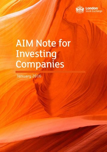AIM Note for Investing Companies