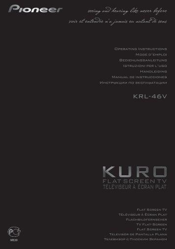 Pioneer KRL-46V - User manual - allemand, anglais, espagnol, français, italien, néerlandais, russe