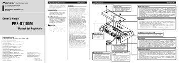 Pioneer PRS-D1100M - Installation manual - anglais, espagnol