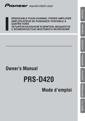 series each additional s pioneer prs d420 user manual allemand anglais espagnol franç