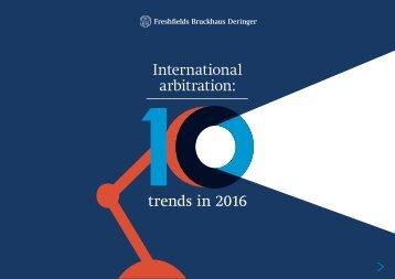 International arbitration trends in 2016