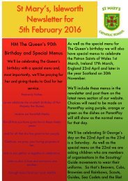 St Mary's Isleworth Newsletter for 5th February 2016