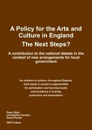 A Policy for the Arts and Culture in England The Next Steps?