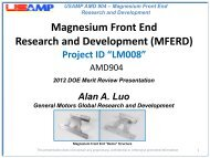 Magnesium Front End Research and Development - EERE