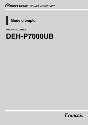 Pioneer DEH-P7000UB - User manual - français