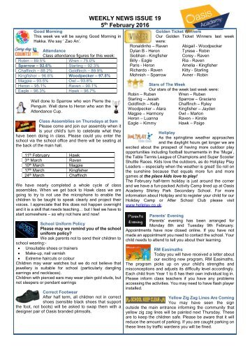 WEEKLY NEWS ISSUE 19 5 February 2016