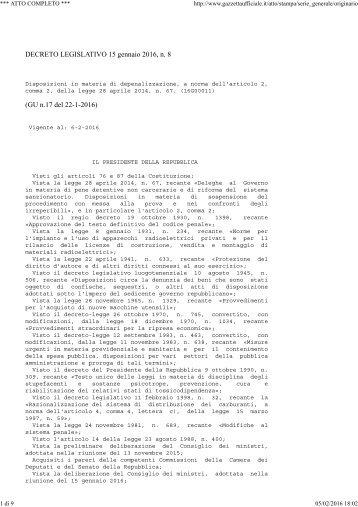 DECRETO LEGISLATIVO 15 gennaio 2016 n 8 (GU n.17 del 22-1-2016)
