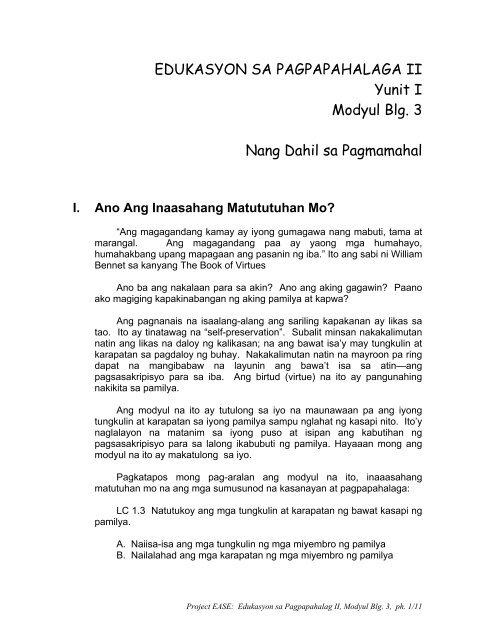 EDUKASYON SA PAGPAPAHALAGA II Yunit I Modyul Blg  3 Nang
