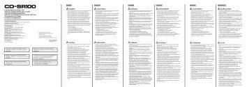 Pioneer CD-SR100 - User manual - allemand, anglais, espagnol, français, italien, néerlandais