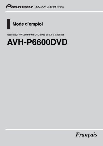 Pioneer AVH-P6600DVD - User manual - français