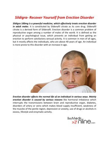 Take Sildigra to Treatment of Erectile Dysfunction