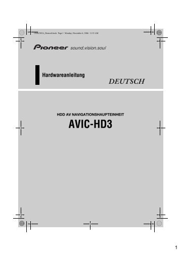 Pioneer AVIC-HD3BT - Hardware manual - allemand
