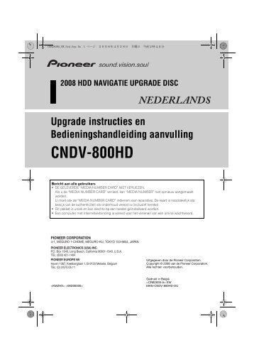 Pioneer CNDV-800HD - User manual - néerlandais