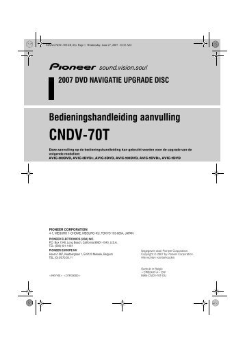 Pioneer CNDV-70T - User manual - néerlandais