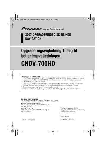 Pioneer CNDV-700HD - User manual - danois