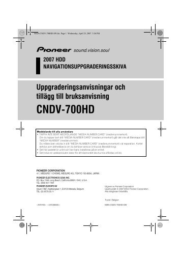 Pioneer CNDV-700HD - User manual - suédois