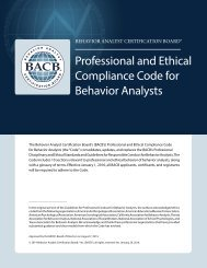 Professional and Ethical Compliance Code for Behavior Analysts