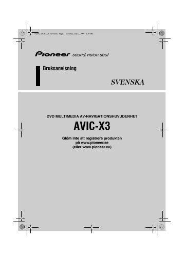 Pioneer AVIC-X3 - User manual - suédois