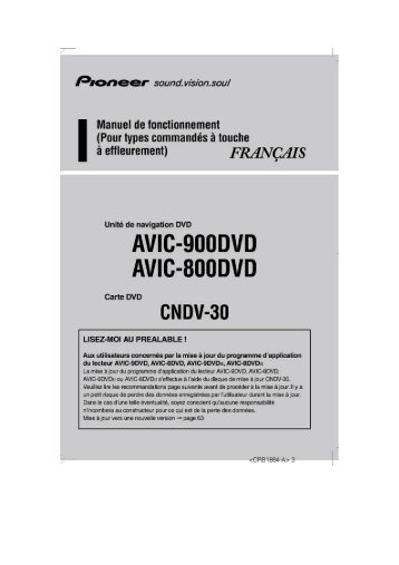 Pioneer AVIC-900DVD - User manual - français