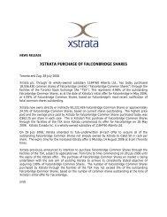 Xstrata purchase of Falconbridge Shares