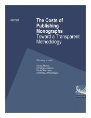 The Costs of Publishing Monographs Toward a Transparent Methodology