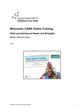 Wisconsin CANS Online Training Child and Adolescent Needs