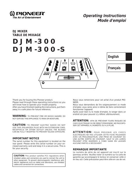 Pioneer Djm 300 User Manual Anglais Fran Ccedil Ais