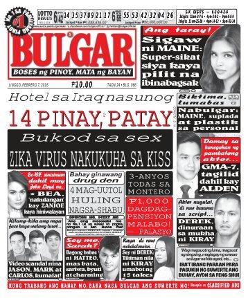 February 7, 2016 BULGAR: BOSES NG PINOY, MATA NG BAYAN