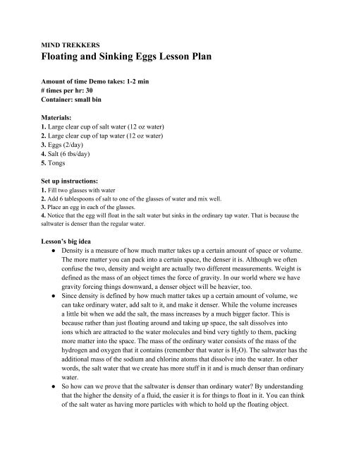 Floating and Sinking Eggs Lesson Plan - MTU Mind Trekkers