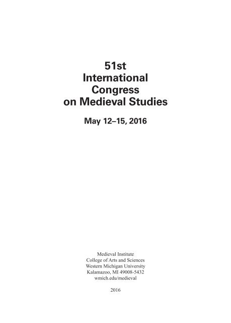 51st International Congress On Medieval Studies