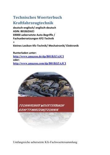 Leseprobe zu Technisches Woerterbuch Kraftfahrzeugtechnik (de-englisch Kfz/ uebersetzte Auto-Begriffe)