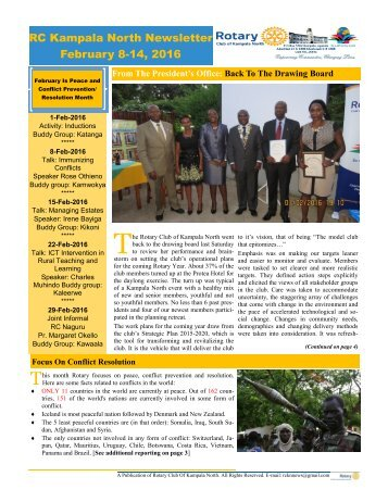 Rotary Club Of Kampala North Bulletin - February 8-14, 2016