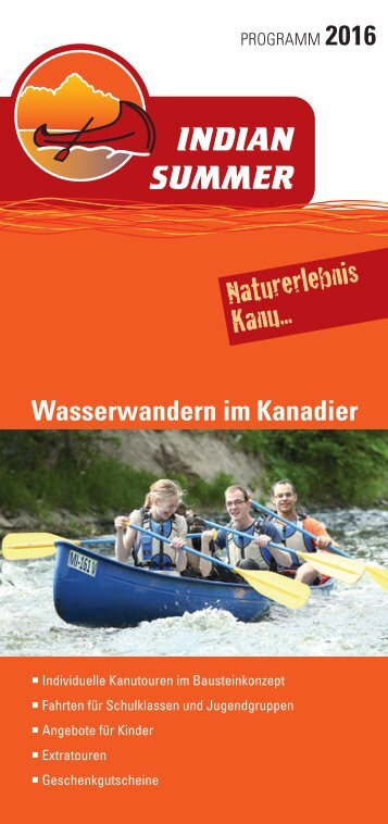 Indian Summer Kanutouren Katalog 2016